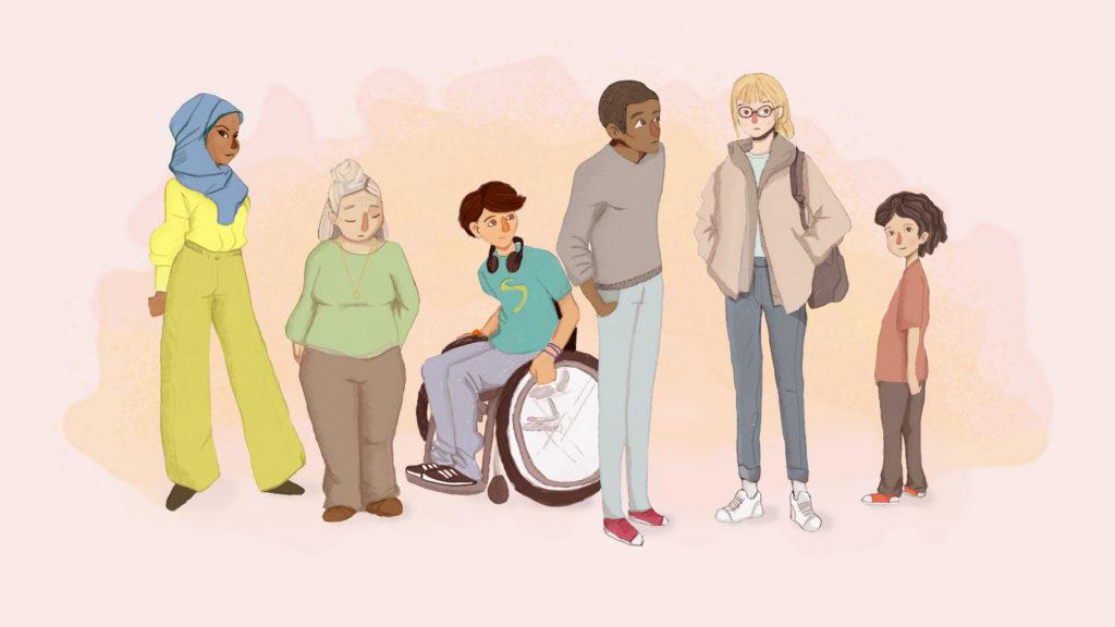Bild på personer som står på rad som symboliserar personer i samhället