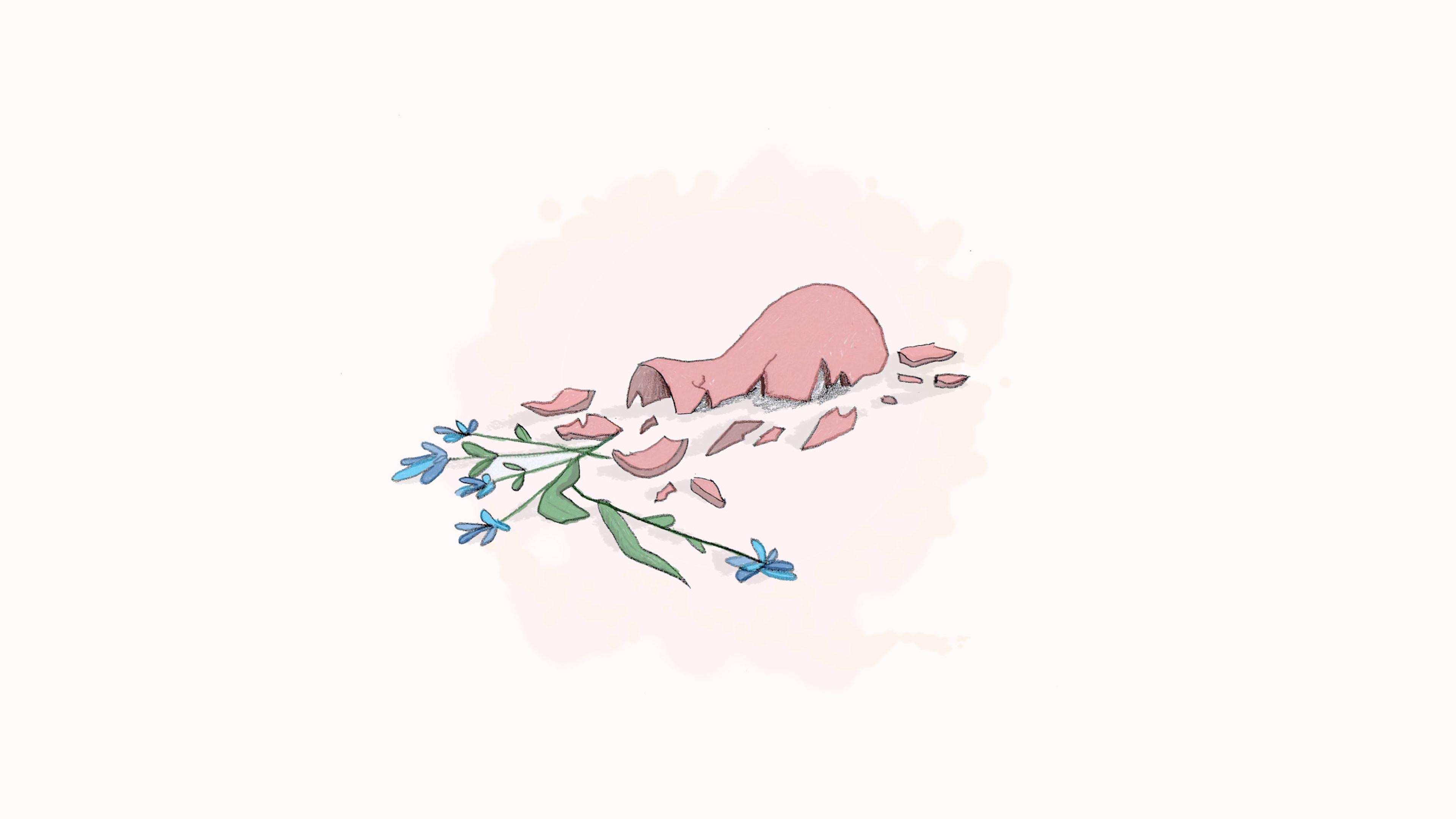 Illustration av en trasig blomvas med blå blommor som ligger utspridda bland skärvorna vilket symboliserar våld.